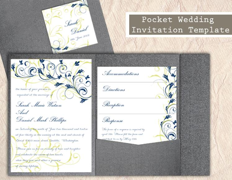 Свадьба - Pocket Wedding Invitation Template Set DIY EDITABLE Word File Instant Download Navy Blue Wedding Invitations Printable Floral Invitation