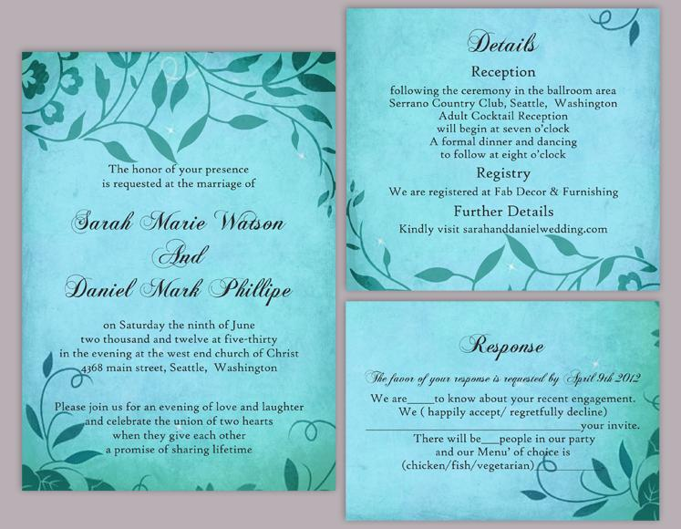 زفاف - DIY Rustic Wedding Invitation Template Set Editable Word File Download Printable Invites Turquoise Blue Invitation Leaf Wedding Invitation