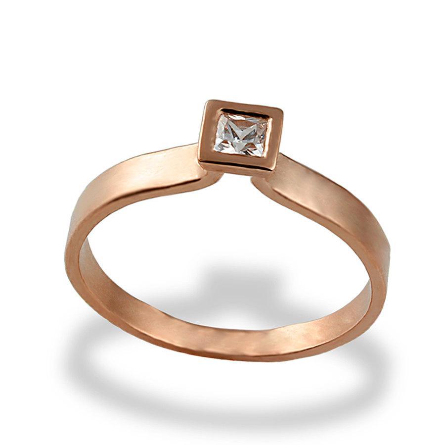 Princess Cut Engagement Ring, Rose Gold Engagement Ring, Solitaire Engagement  Ring, Diamond Engagement Ring, Square Diamond Ring,