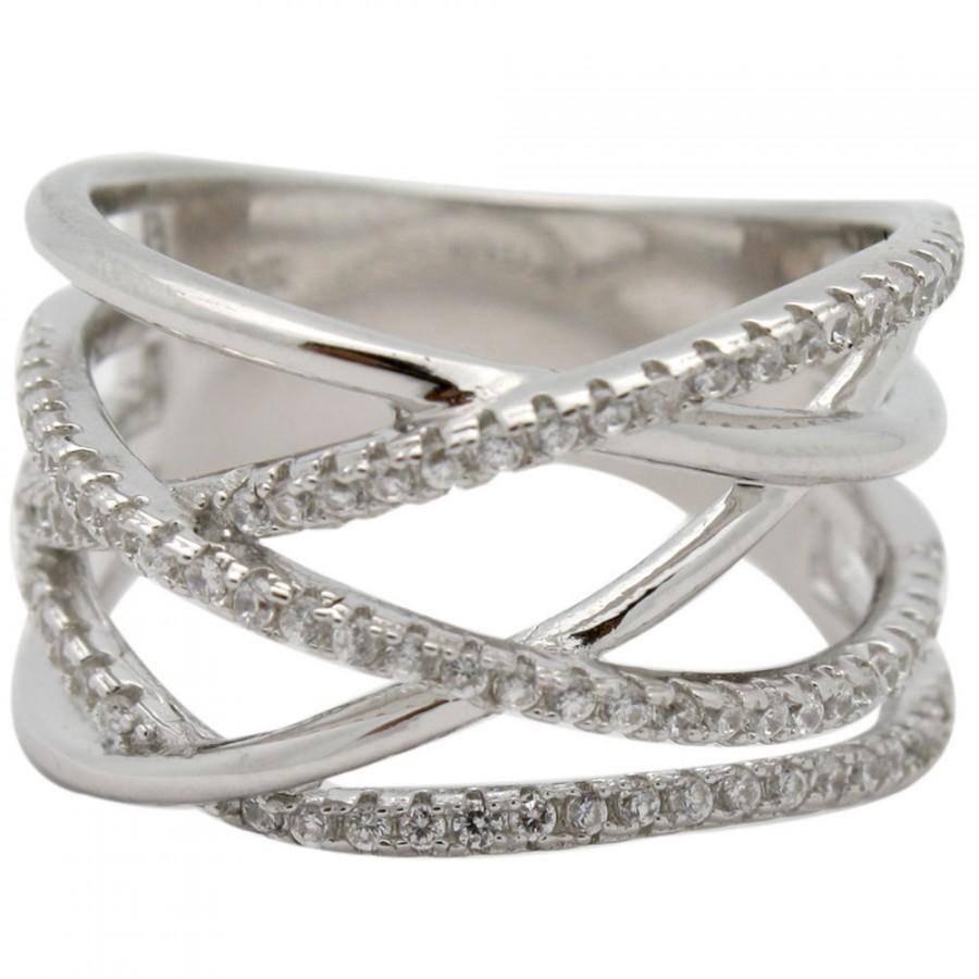 Свадьба - Crisscross Trendy Twisted Highway X Knuckle Ring Solid 925 Sterling Silver Round Micro Pave Russian Clear White Diamond CZ Crossover Ring