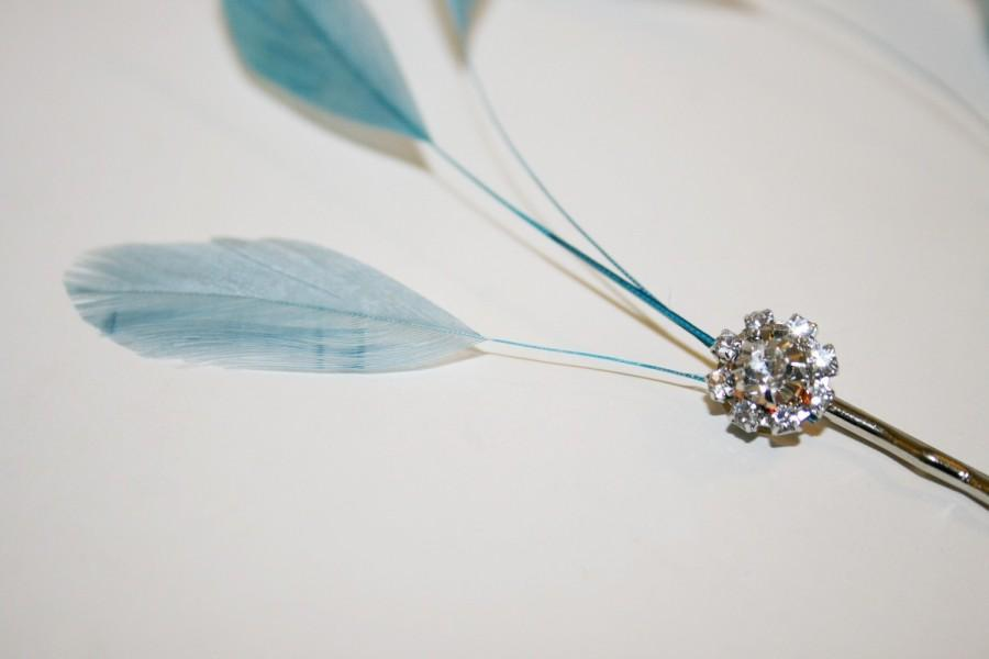 Свадьба - C O U N T E S S  Feather and Rhinestone Hair Pin Set