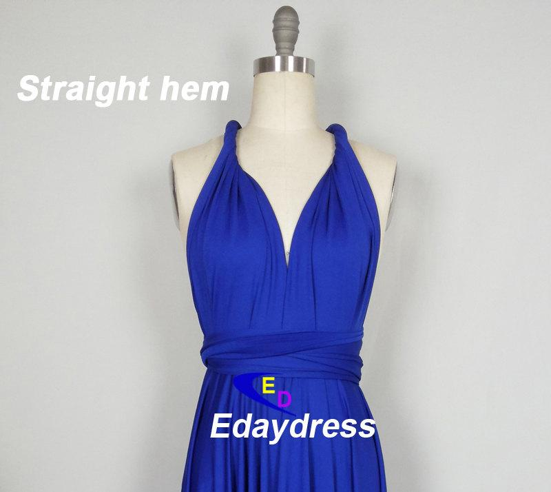 Straight Hem Knee Tea Length Silver Bridesmaid Dress Convertible Wrap Royal Blue Infinity