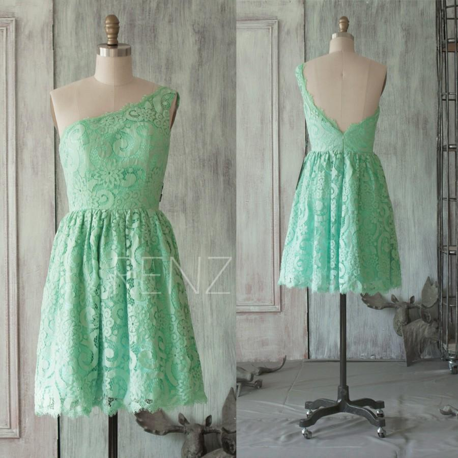 Mariage - 2015 Mint Lace Bridesmaid dress, One Shoulder Wedding dress, Backless Formal dress, A line Prom dress, Cocktail dress knee length (FL019B)