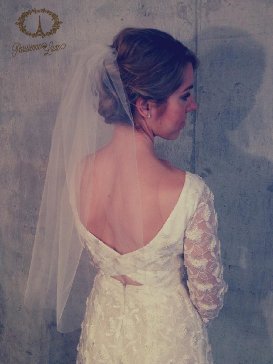 "Hochzeit - ELBOW LENGTH VEIL -  24"" - 30"", Blusher Veil, Bridal Tulle Veil, Simple Bridal Veil, Wedding Veil, Elbow Veil, Ivory Bridal Veil, White Veil"