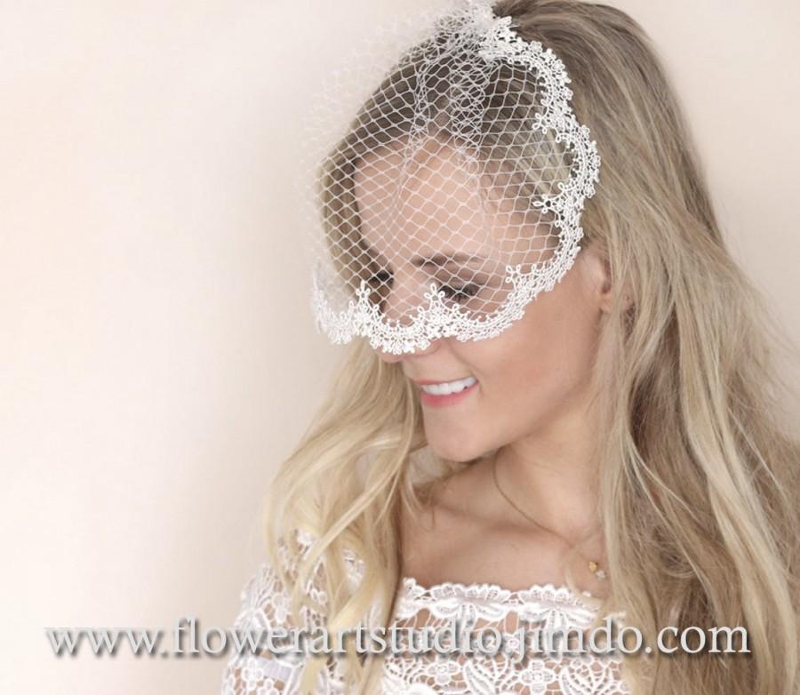 Hochzeit - Ivory Birdcage Veil, Lace wedding veil, Feminine Bridal veil, Bridal Blusher Veil, Embroidered lace veil, Birdcage Fascinator.