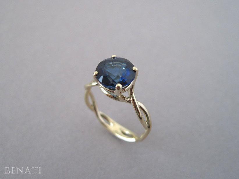 Свадьба - Sapphire Infinity Engagement Ring, Blue Gemstone Engagement Ring, Infinity Engagement Ring, 14k Yellow Gold Braided Rope Engagement Ring