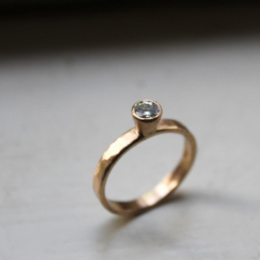 14k Hammered Gold Moissanite Diamond Engagement Ring