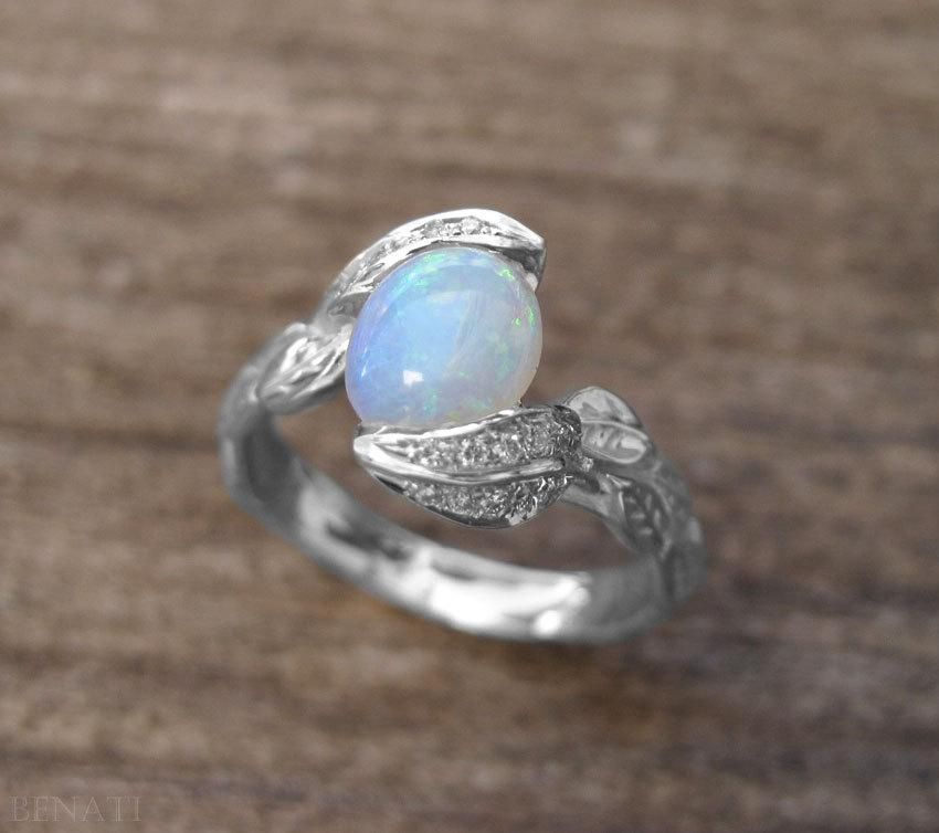 floral ring natural leaf diamond rings media leaves engagement opal