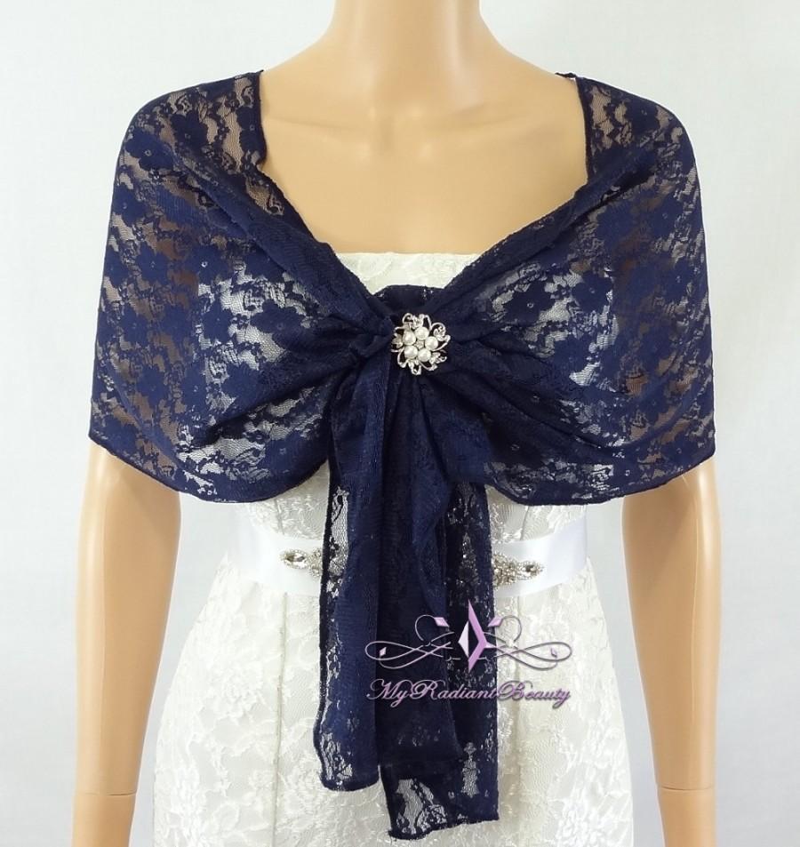 Mariage - Bridal Lace Wrap Stole, Navy Blue Lace Shawl, Bridal Silk Lace Wrap Shrug, Faux Fur Wrap, Lace Wrap, Evening Wrap LAW108-N.BLUE