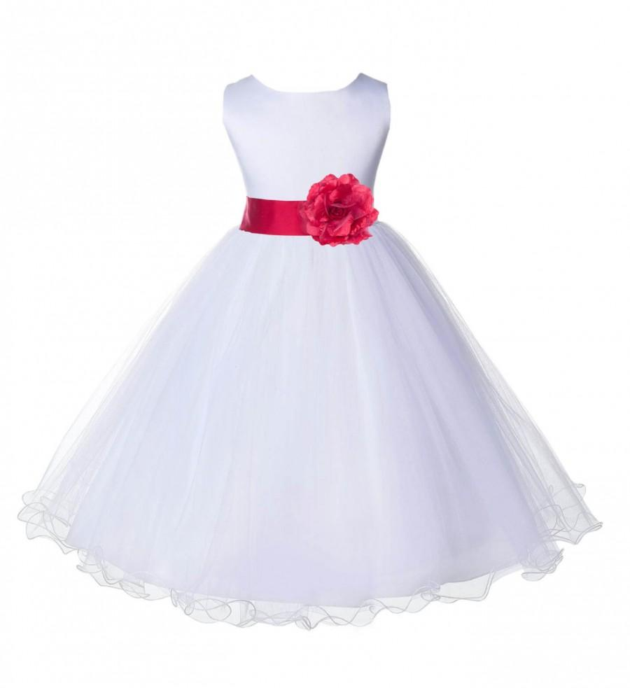 be8167b1026 New Color White Flower Girl dress tie sash pageant wedding bridal recital  children tulle bridesmaid toddler sizes 12-18m 2 4 6 8 10 12