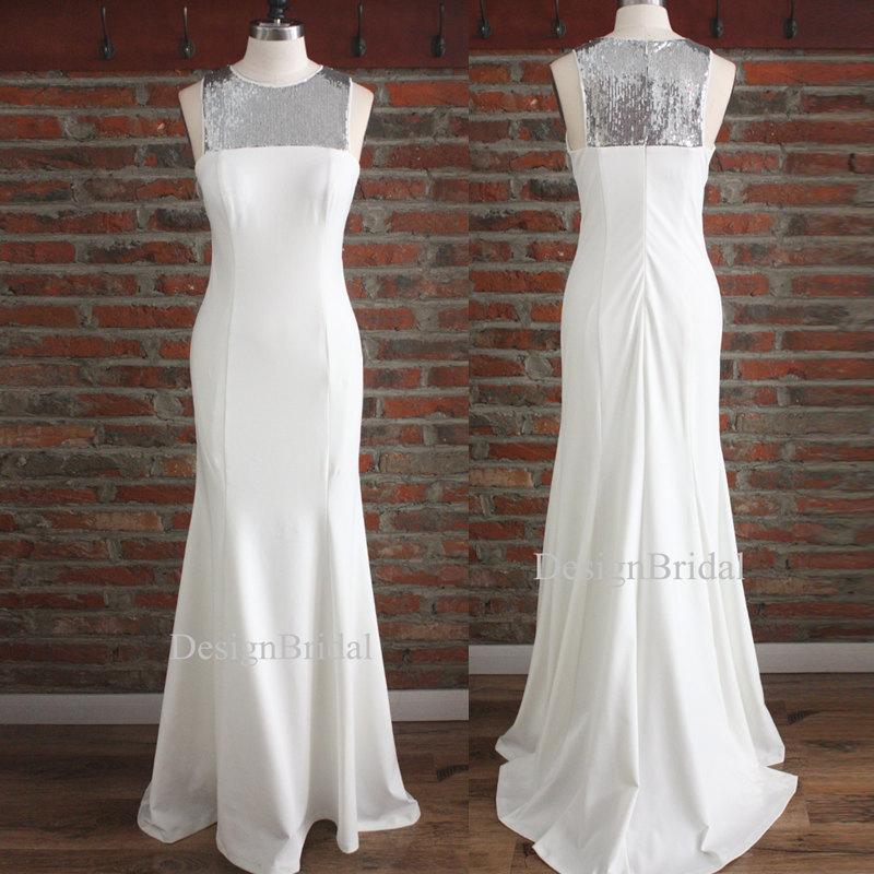 Hochzeit - Long White Dress,Long Formal Dresses with Train,Godness Style Fitted Dress,Wedding Evening Prom dresses,Sequin White Gown,Homecoming dresses