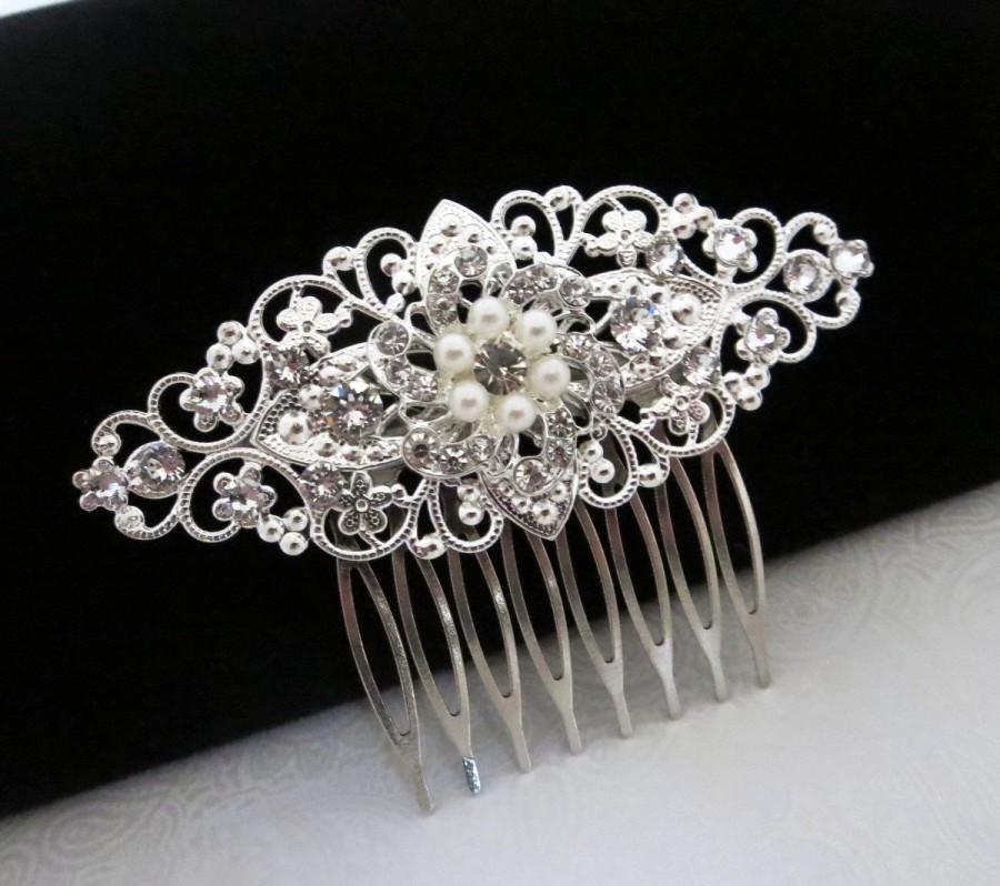 زفاف - Vintage style hair comb, bridal hair comb, Swarovski crystals, rhinestones, wedding hair