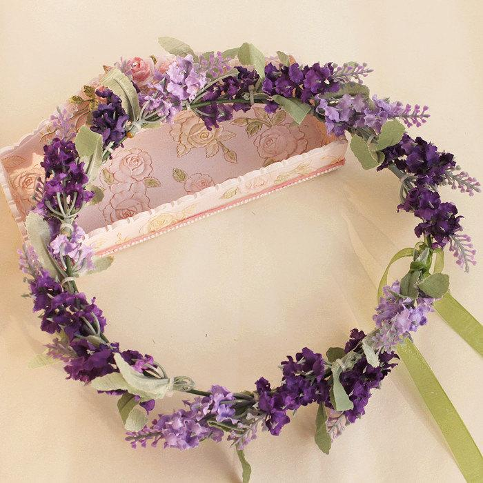 Boda - purple flower crown lavender flower hair wreath floral crown bridal head piece floral crown wedding accessories Bridal Floral hair wreath
