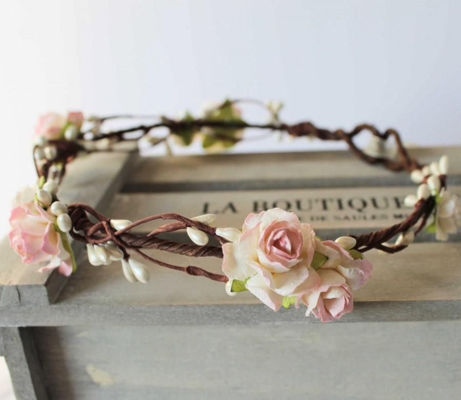 Mariage - Pale Pink and Ivory Rose and Pearl Pip Berry Floral Crown, Flower Girl Bridesmaid Garland, Blush Pink Floral Crown
