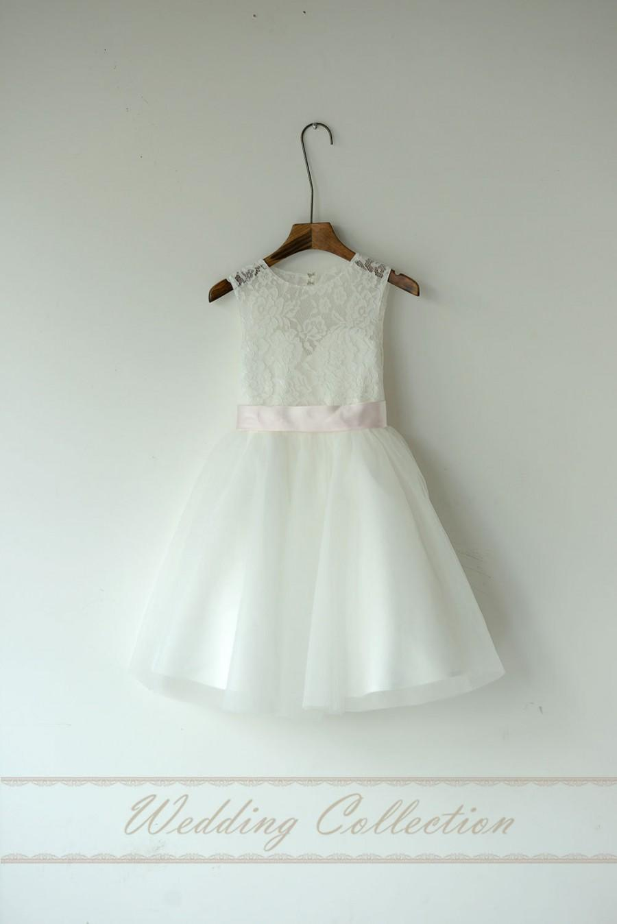 Hochzeit - Lace Tulle Flower Girl Dress Without Sash and Bow