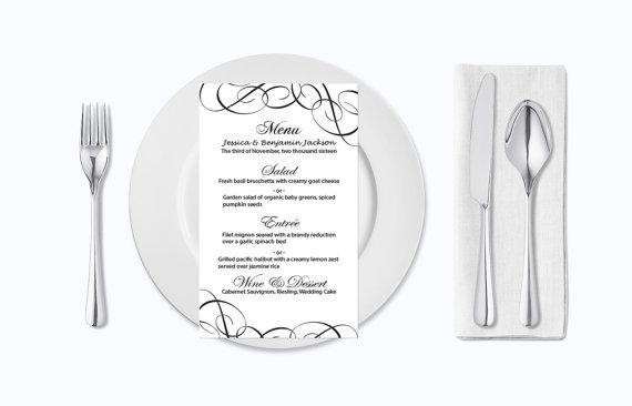 Свадьба - Wedding Menu Card Template - Editable PDF - 4x7 Black Elegant Swirls Printable Menu Card Templates - Adobe Reader Format - DIY You Print