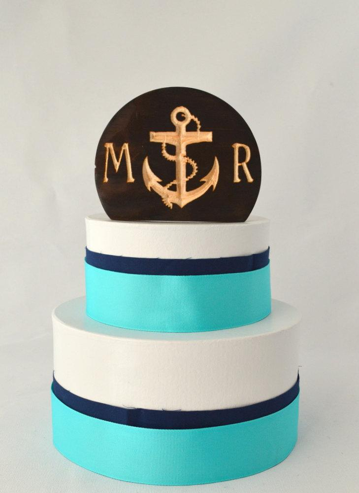 Mariage - Nautical Anchor Wedding Cake Topper, rustic and natural burned wood with personalized letters