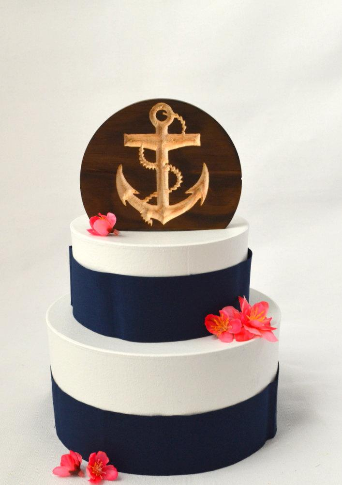 Hochzeit - Nautical Wedding Anchor Cake Topper, burned wood cake topper
