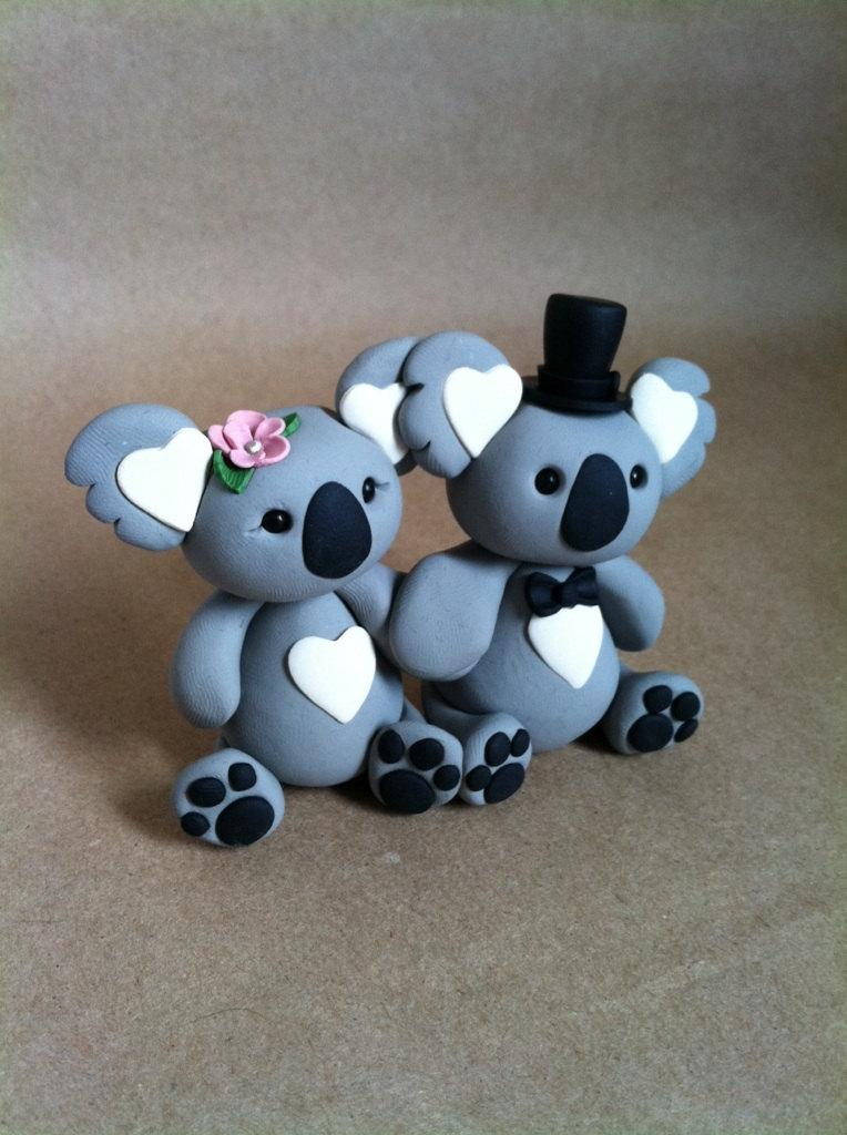 Hochzeit - koala love Wedding Cake Topper Handmade