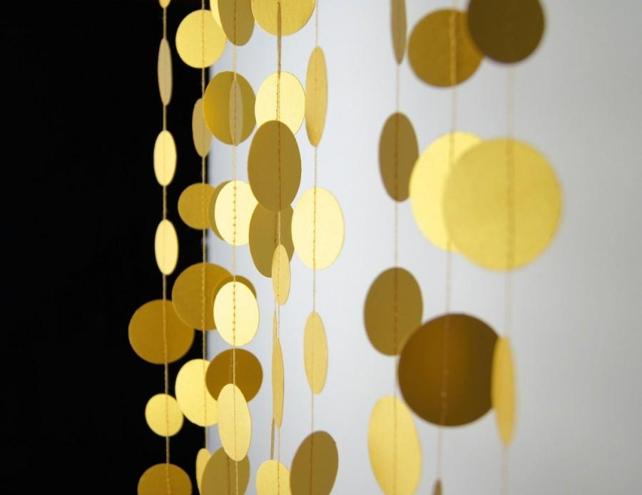 Mariage - Fine Gold Circles Paper Garland,  20 Colors, Bridal Shower, Baby Shower, Party Decorations, Birthday Decor