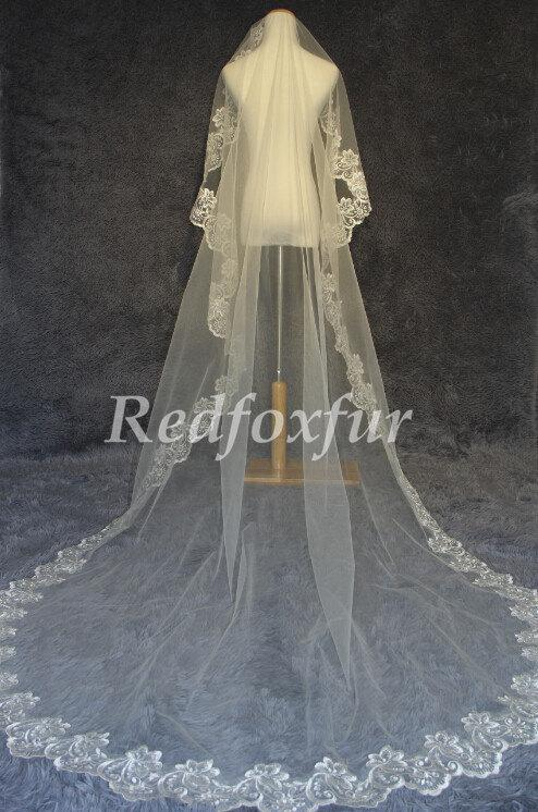 Hochzeit - cathedral veil.wedding veil .lace veil. bridal veil. white ivory veil. cathedral wedding veil. lace wedding veil