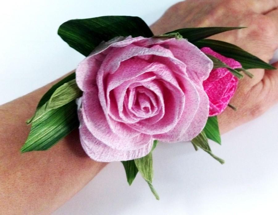 Hochzeit - paper flowers Rose bud bridal corsage pink paper flower Hair Accessories pink flower girl bracelet mens wedding brooch Groom Boutonniere