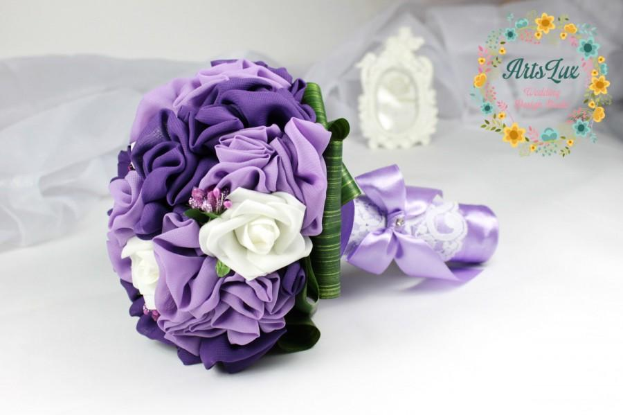 Mariage - Wedding Bridal bouquet in purple with white roses -Chiffon Flower Bridal Bouquet-Handmade wedding bouquet-Alternative bouquet-Purple wedding