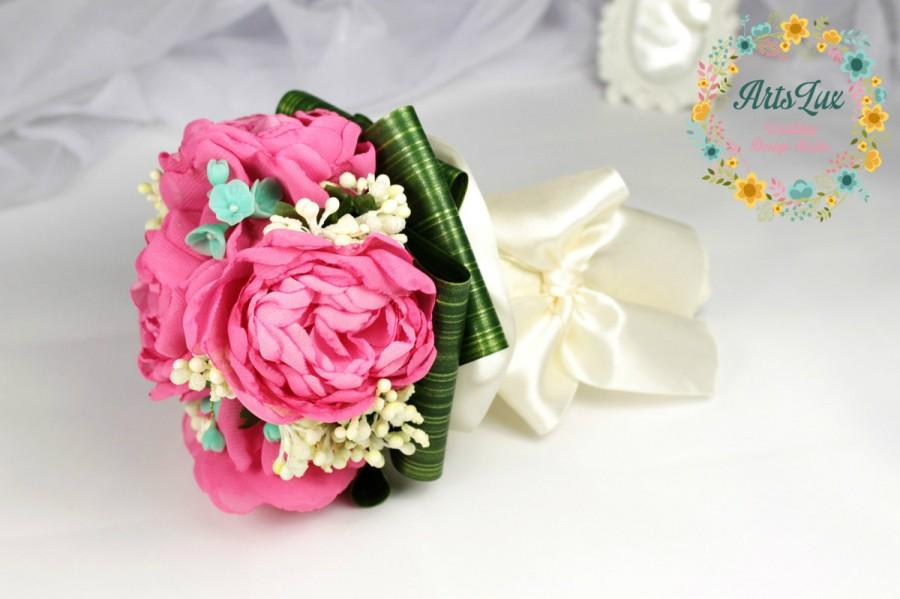 Mariage - Wedding Bouquet Pink Peony Wedding Bouquet - Pink&mint bridal bouquet - Chiffon Flower Bridal Bouquet - Handmade wedding bouquet