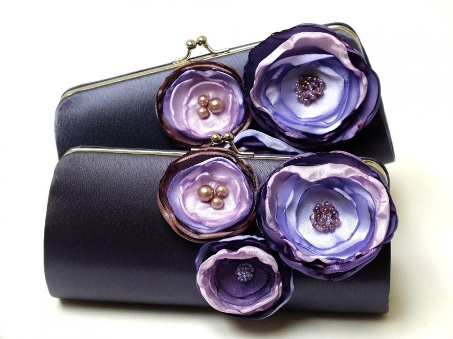 Hochzeit - Dark Gray Charcoal & Purple Clutch - Bridesmaid Clutch - Bridal Clutch - Bouquet Clutch - Flower Clutch - Lilac Lavender Grape Purple