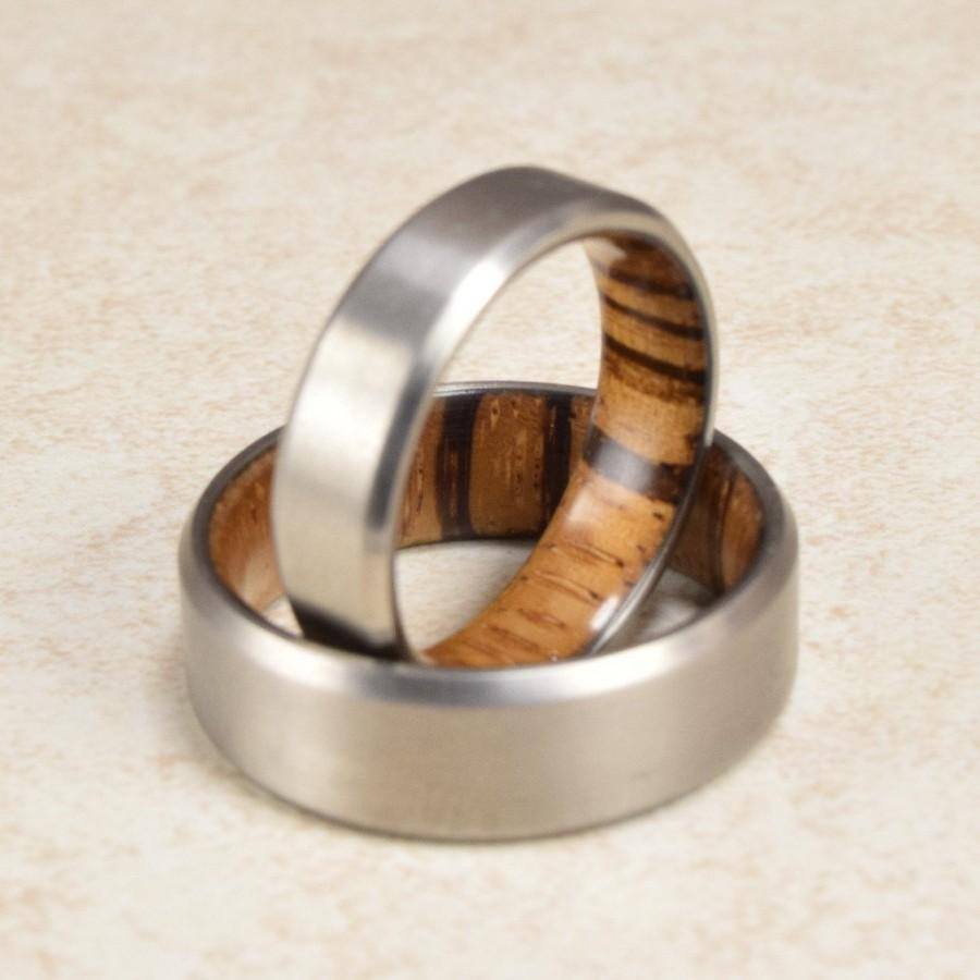 Wedding - Titanium & Zebra Wood Lined Ring // Engagement Ring // Exotic Wood Ring // Men's Wedding Band // Women's Ring // Gift Ring
