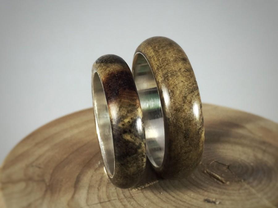 Wedding - wood wedding band, wooden ring, wood wedding ring, wooden ring, Spalted Maple, wood and silver ring, green ring, cool ring for guys, wood