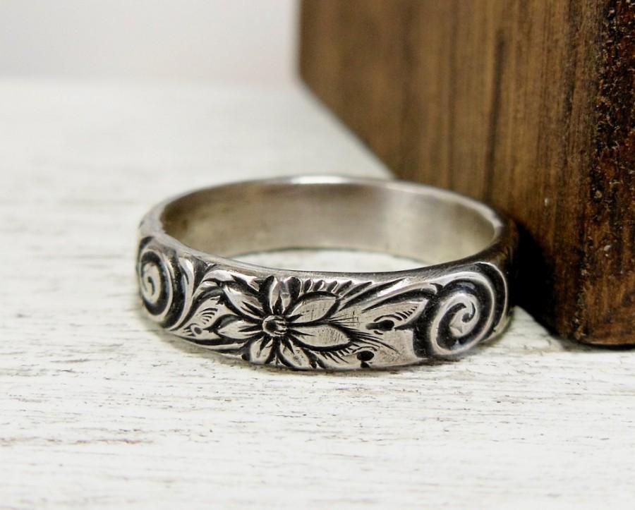 Wedding - Sterling Silver Floral Ring- Swirl Pattern Ring- Sterling Silver Wedding Band- Jewelry for Women