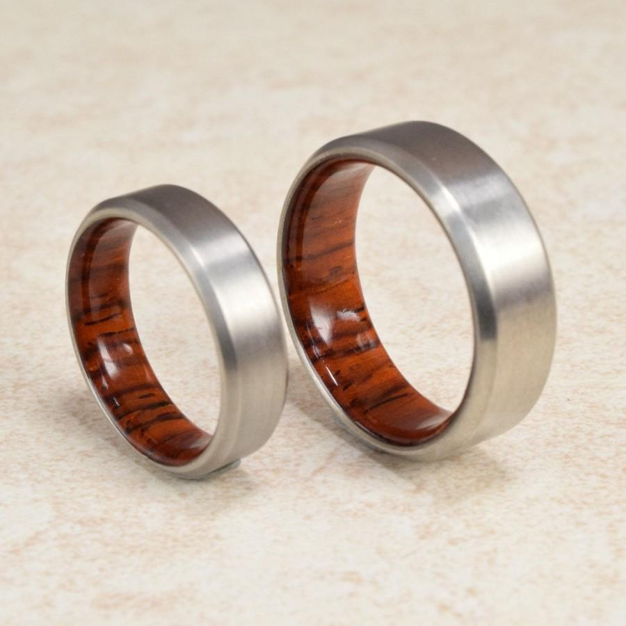 Wedding - Titanium & Cocobolo Lined Ring // Engagement Ring // Exotic Wood Ring // Men's Wedding Band // Women's Ring // Gift Ring