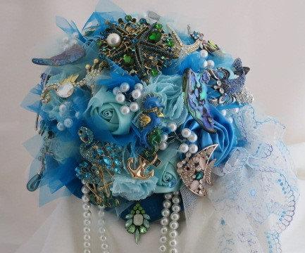 Nautical Theme Brooch Bouquet Teal Turquoise Aqua Marine White Pearls Rhinestone Crystal Beach Wedding Sealife Brooches With Picture Charm