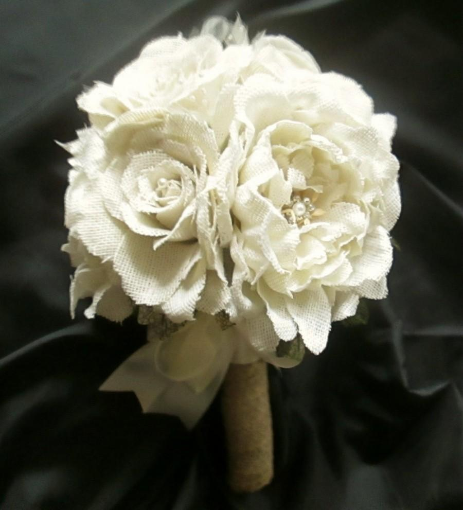 burlap rose and peony bouquet in white or natural bridesmaid bouquets rustic wedding shabby. Black Bedroom Furniture Sets. Home Design Ideas