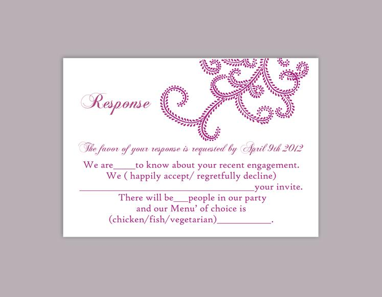 Hochzeit - DIY Bollywood Wedding RSVP Template Editable Word File Instant Download Rsvp Printable RSVP Cards Purple Rsvp Template Elegant Rsvp Card