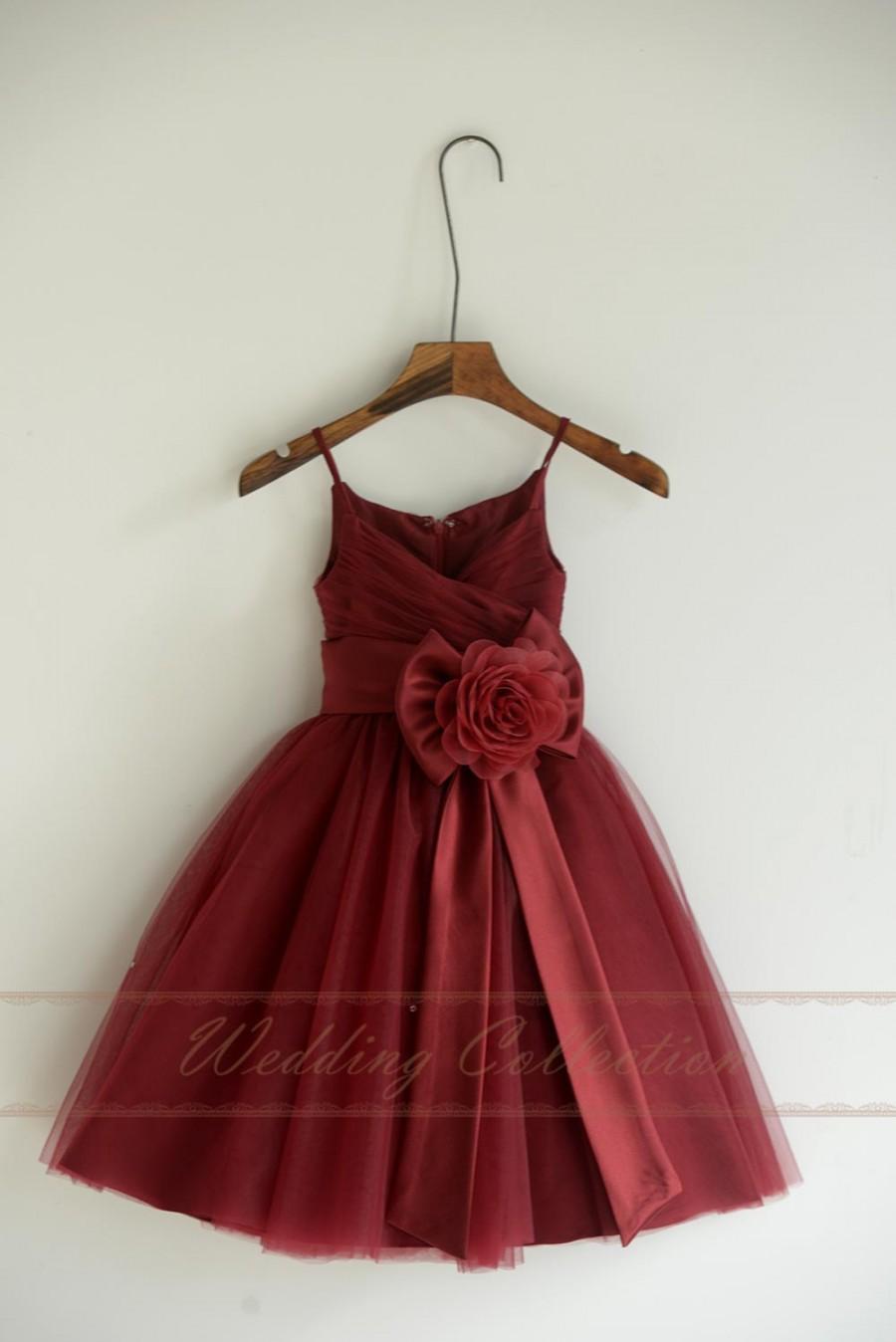 Свадьба - Burgundy Tulle Flower Girl Dresses, Flower Girls Dress With Sash Bow Flower