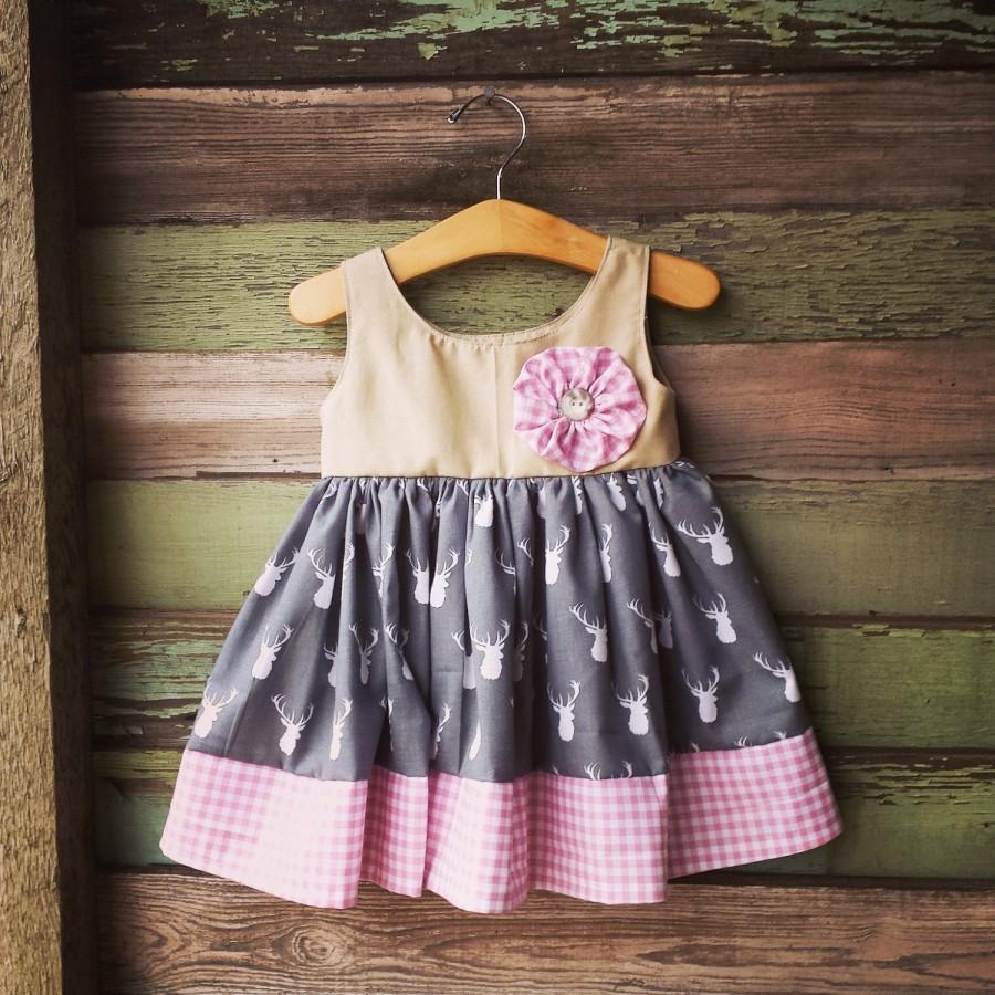 Свадьба - Deer Dress, First Birthday Dress, Gray and Pink, Girls Easter Dress, Birthday outfit, Deer Head Dress, photoshoot dress, pink gingham