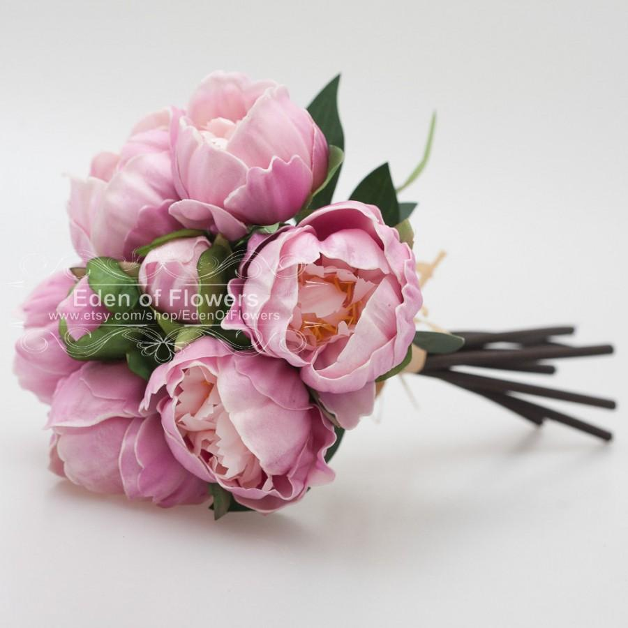 Light fushcia peony bouquets real touch flowers for wedding bridal light fushcia peony bouquets real touch flowers for wedding bridal bouquets home decoration centerpieces izmirmasajfo