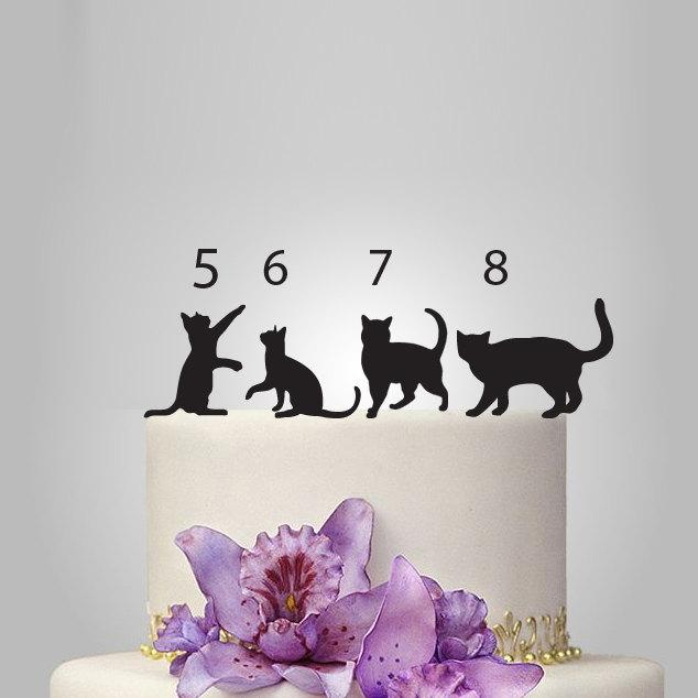 Hochzeit - CAT Silhouette Cake Topper, wedding cake topper, custom cats wedding cake topper, pets cake topper