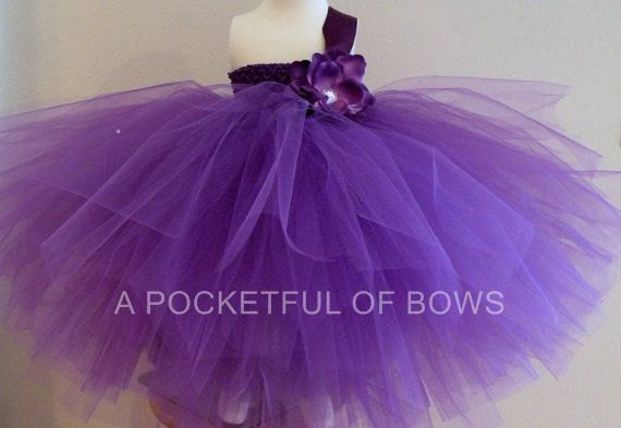 Свадьба - Purple Flower Girl Tutu Dress, Long Tulle Dress, Toddler Formals, Ball Gown