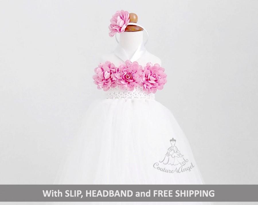 Свадьба - White flower girl dress 2T 3T 4T 5T , tutu dress , pink dress , hand crochet top tulle dress , hand knit top tutu dress with Slip , Headband