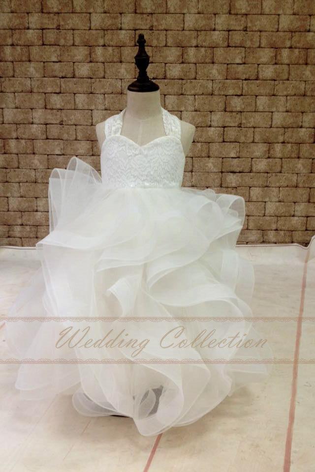 Свадьба - Flower Girl Dress Lace With Horse Hair Cross Back Tulle Ball Gown Floor Length