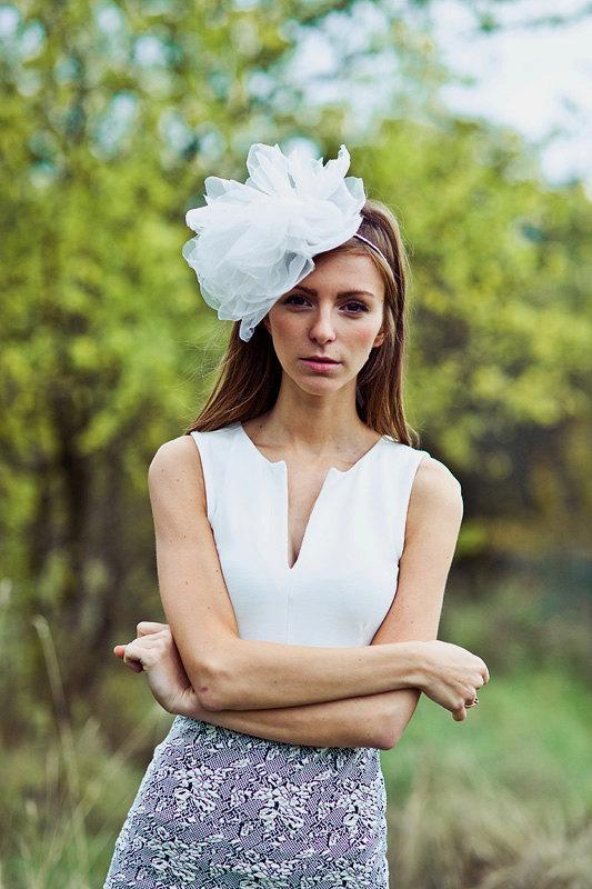 Mariage - Bridal organza flower headband - Bridal veil - Bridal headpiece - Style 032