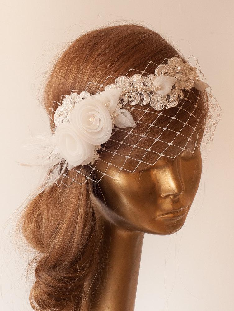 Mariage - BIRDCAGE VEIL.Ivory Lace Vintage Style Birdcage Veil. Bridal FASCINATOR.