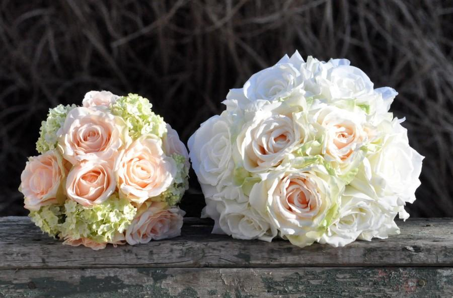 Wedding - Silk Wedding Bouquet, Wedding Bouquet, Keepsake Bouquet, Bridal Bouquet Blush rose, coral rose and green hydrangea wedding bouquet package.