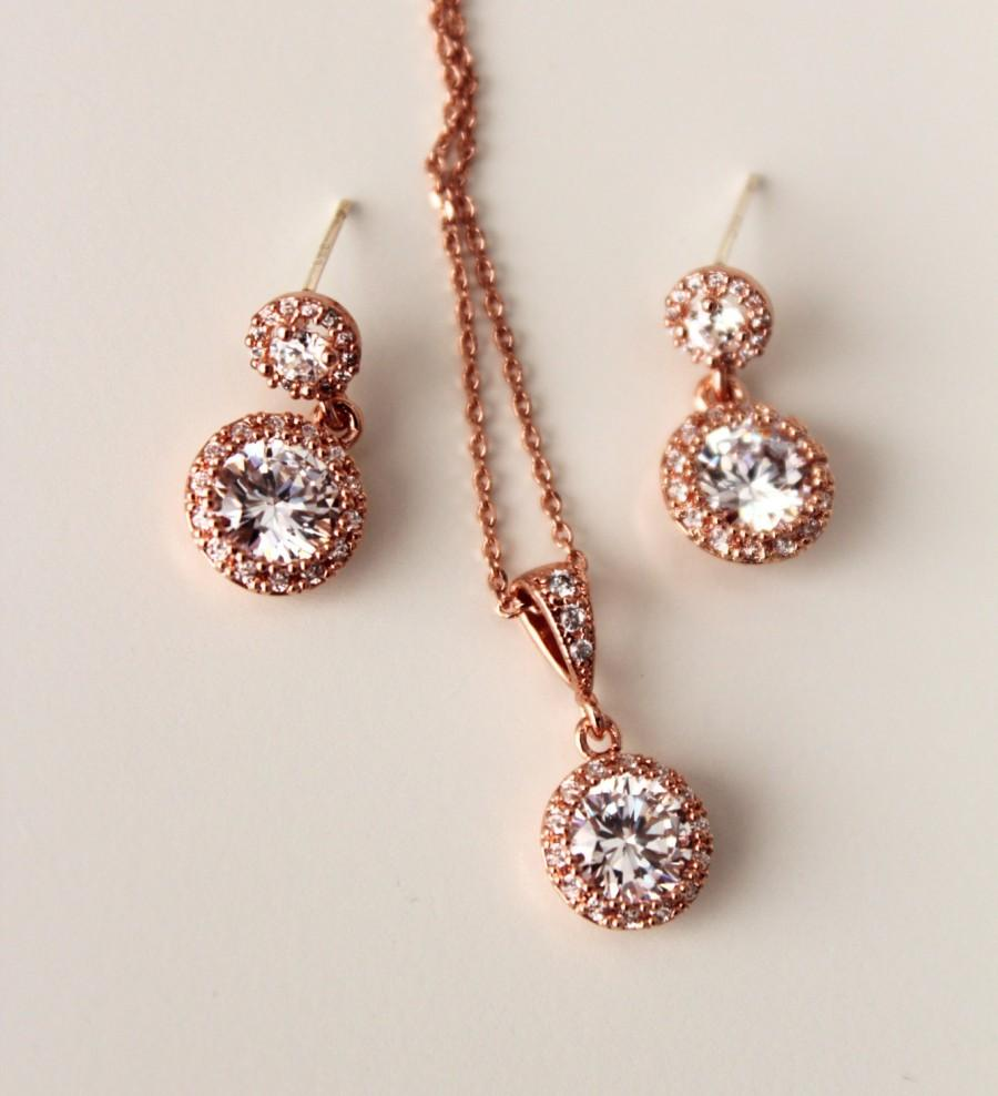 Petite Delicate Everyday Earrings And Necklace Set Rose Gold