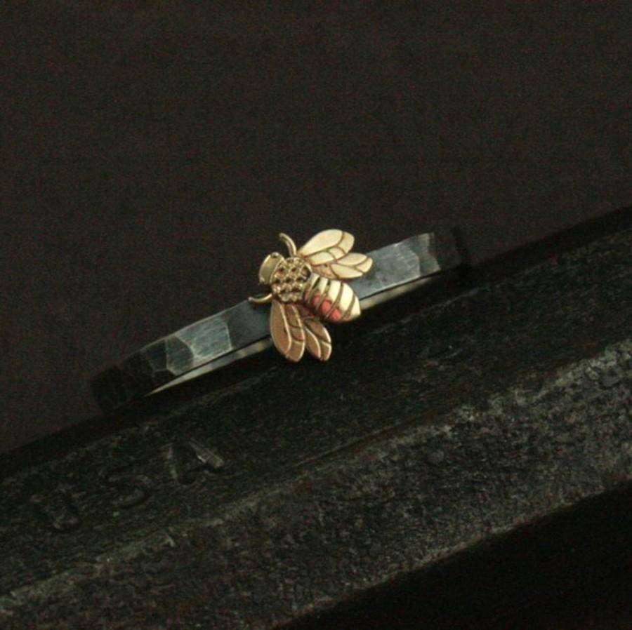 Wedding - Queen Bee Ring--Honey Bee Mine--14K Yellow Gold Bee Ring--Silver Wedding Band--Nature Inspired Ring--Promise Ring--Hammered Silver Ring