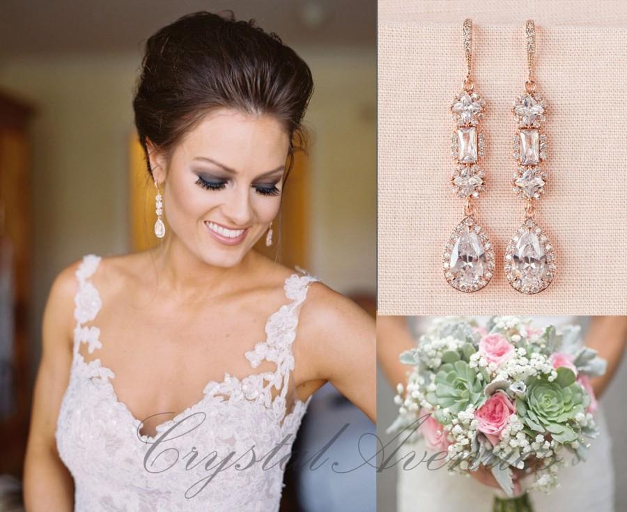 Mariage - Rose Gold Bridal earrings, Wedding jewelry, Long Wedding earrings Bridal jewelry, Julienne Earrings