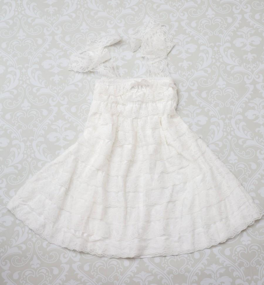 Wedding - White Lace Flower Girl Dress -Flower Girl Dress- Flower Girl-Country Wedding-Lace Flower Girl Dress-Junior Bridesmaid Dress-Lace Wedding